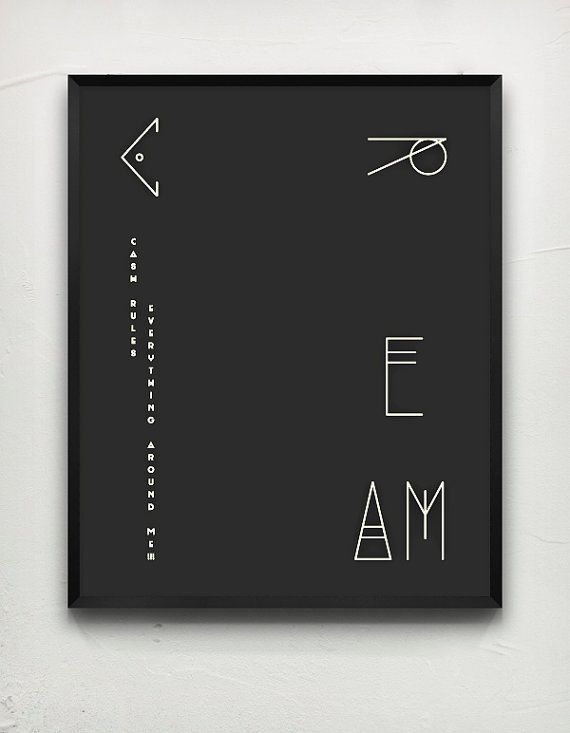 Typography poster CREAM Black by MessProject on Etsy, €17.00