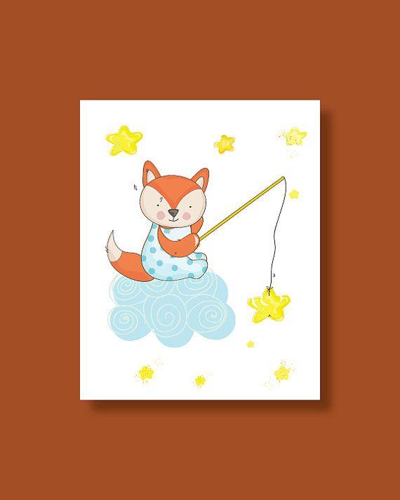 Fox Nursery Art Print  Baby Fox Star Fishing  by HappyLittleBeans