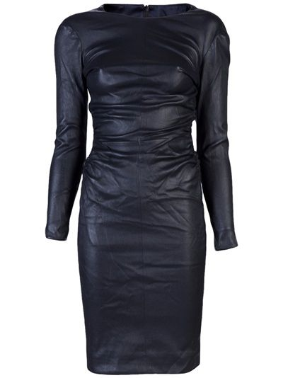 The Row - Risting leather dress in midnight