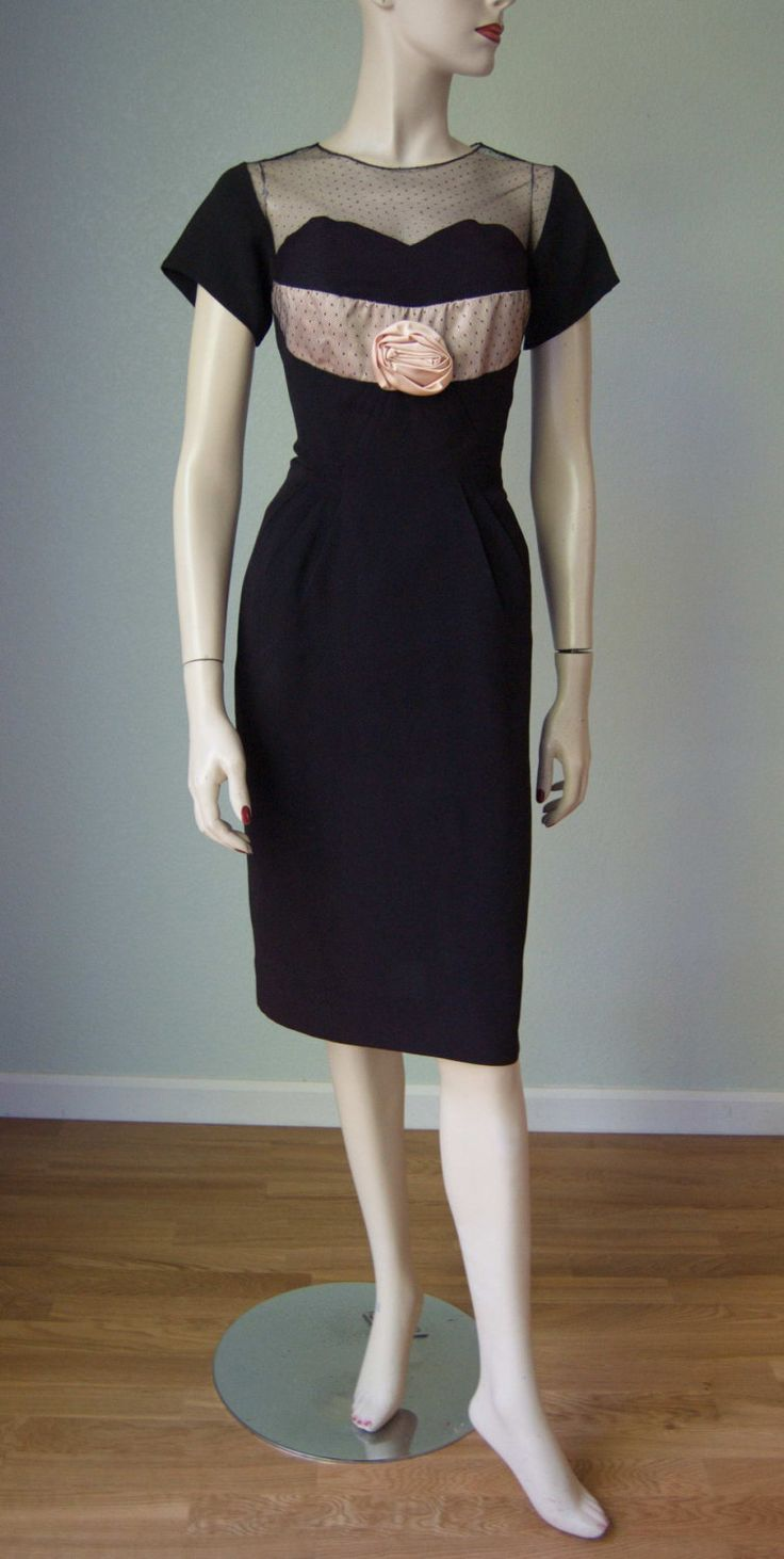 1950s Curvy Hourglass Illusion Bodice Cocktail Dress // Pin tuck Pleats // Black and Nude  // Glam Holiday Attire by KittyGirlVintage on Etsy https://www.etsy.com/listing/255013851/1950s-curvy-hourglass-illusion-bodice