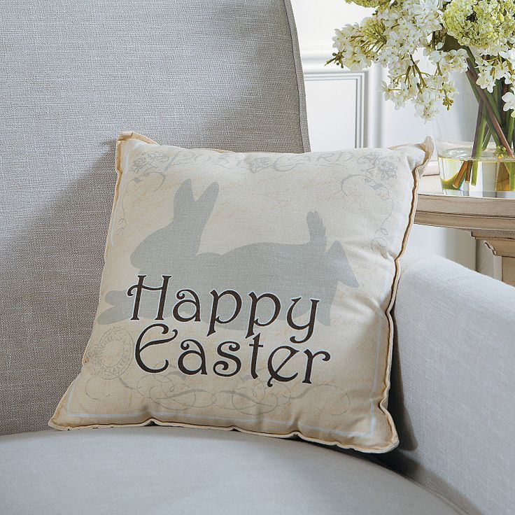Decorative Pillows For Easter : ?Happy Easter? Bunny Throw Pillow - OrientalTrading.com Easter / Bunny Pinterest Throw ...