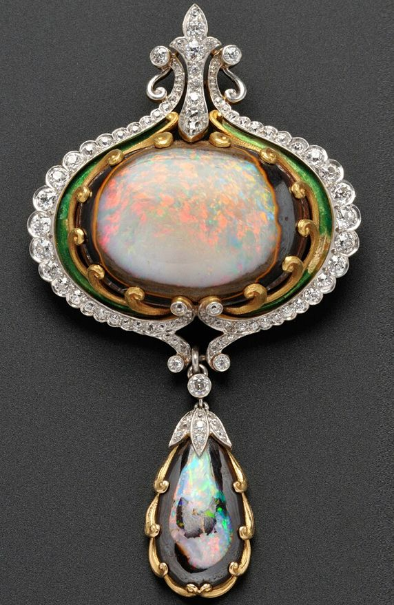 Art Nouveau Opal, Diamond, and Enamel Brooch, Marcus & Co., centering an opal matrix cabochon within a scrollwork frame, and suspending a conforming drop, set with seventy-six old mine- and old European-cut diamonds, approx. total wt. 4.00 cts., platinum and 18kt gold moun