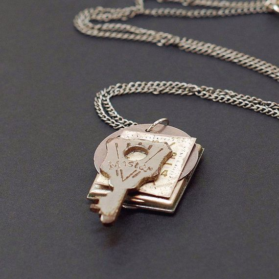 Steampunk sieraden-sleutel ketting, horloge gezicht ketting, zilver toets Steampunk ketting, oude sleutel ketting door Tanith Rohe