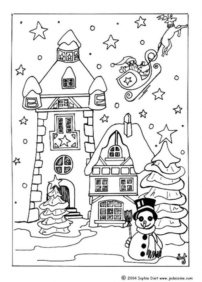 Coloriage santa claus quitte le village de no l noel coloriage noel coloriage et village - Village de noel dessin ...
