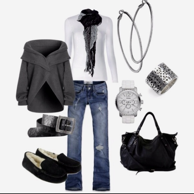 Like: Shoes, Style, Cute Sweaters, Black And White, Outfit, Jackets, Black White, Grey Sweaters, Casual Looks