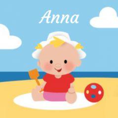 Zomer geboortekaartje meisje op strand