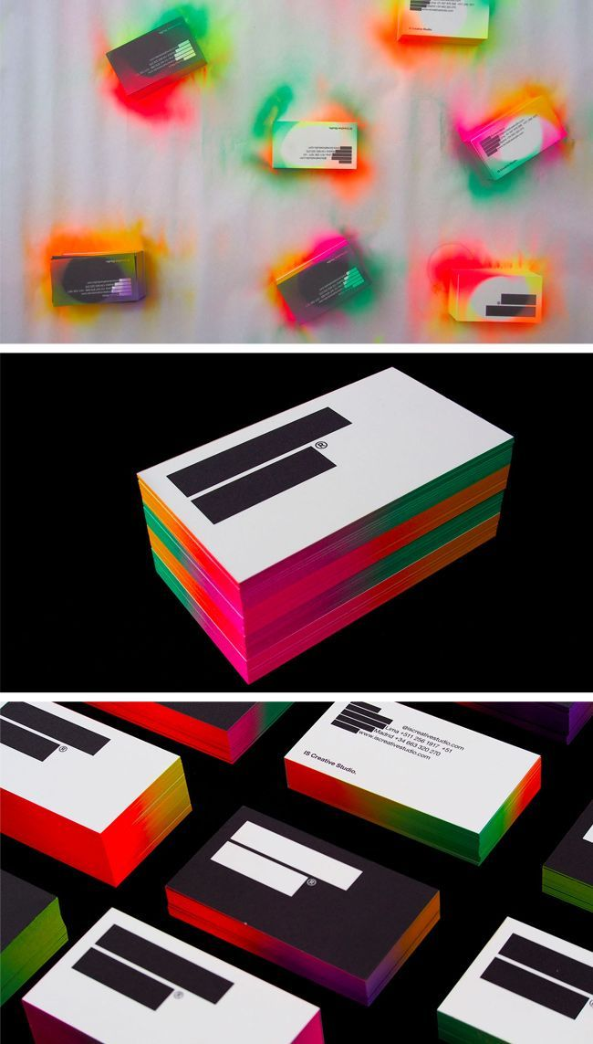 Multi-color spray painted business cards by IS Creative Studio