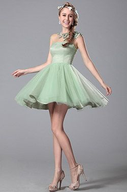 Light Green Beaded Embroidery Homecoming Dress Party Dress (04151104)
