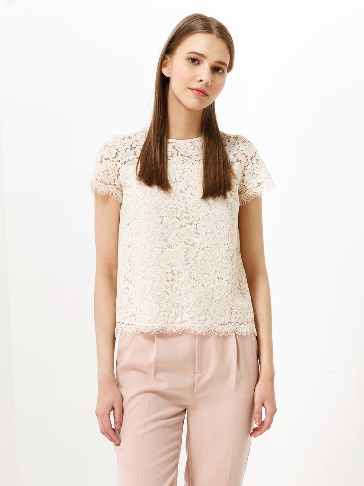Кружевная блузка с коротким рукавом - Рубашки и блузки | LIMÉ