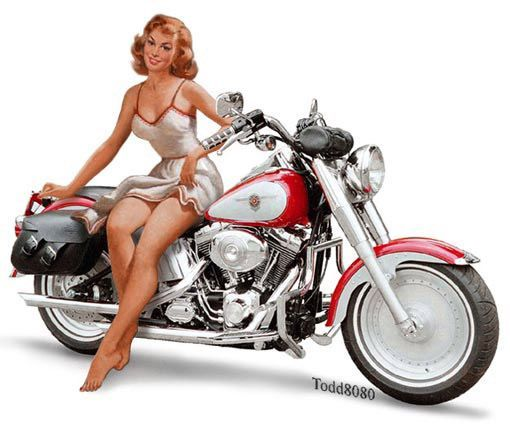 naked motorcycle pin up girls