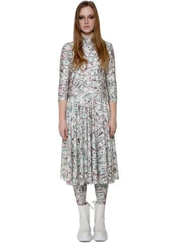 2f9687f2fd6 Dollar Bill Money Print Long Sleeve Skater Dress   Tights Set – IDILVICE