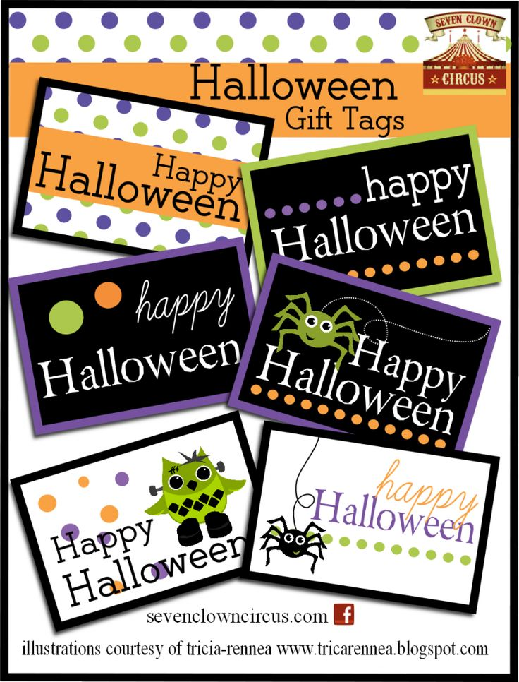 Lots of free Halloween printables- a collection of halloween printable gift tags and decorations.
