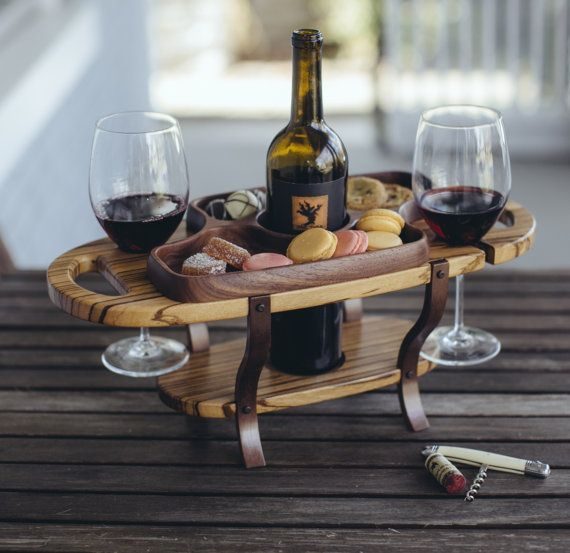Wood wine caddy wine bottle holder wine glass by FineWineCaddy