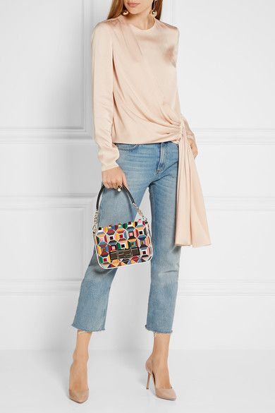 Fendi | Baguette embellished leather shoulder bag | NET-A-PORTER.COM