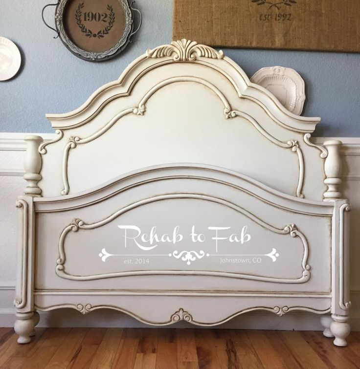 General Finishes Antique White Milk paint. Antiqued by using General Finishes Van Dyke brown glaze & sealed with their Flat Out Flat.""