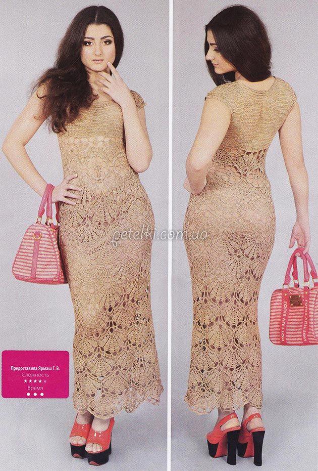 Нарядное платье крючком крупными веерами. Описание вязания, схемы