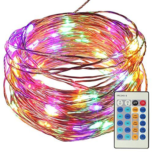 From 10.35 10 Meters 100 Led Copper Wire String Fairy Lights With Remote Control Satubrown Dimmable Starry Light With Adapter For Home Decoration Party X'mas Tree Patio Wedding Valentines (multicolored Plug In)