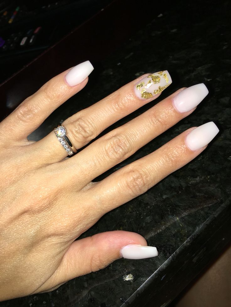 White coffin cut nails with gold flake accent
