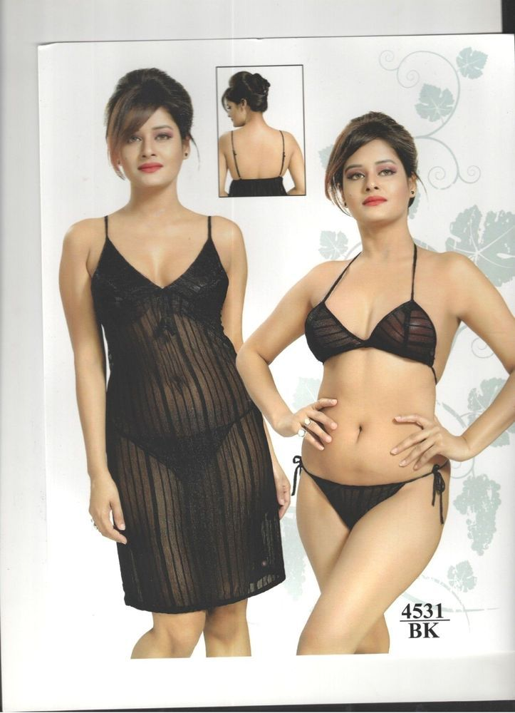 4333f0b533 Indiatrendzs Women Sexy Stretchable Net Black Lingerie Night Dress ...