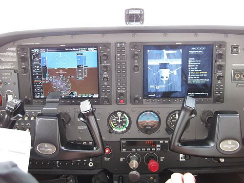 """Cesna C172 SP ~ digital """"Glass Cockpit"""" ~ note that some """"Steam Gauges"""" (Air Speed, Attitude and Altitude) have been retained"""