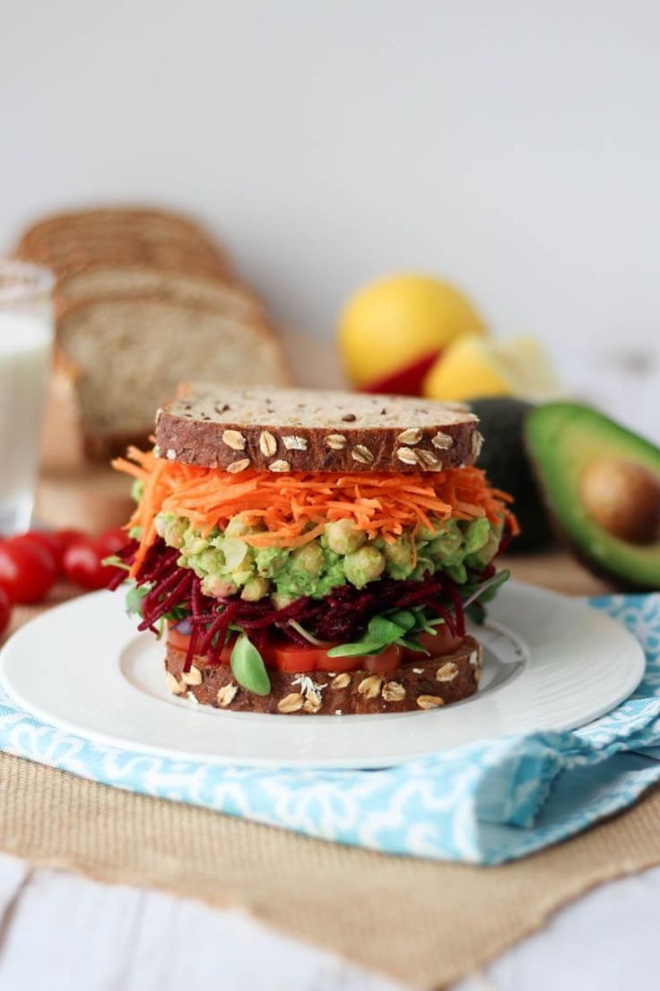 14 high protein vegetarian lunch recipes to make, like Avocado Chickpea Salad Sandwich.