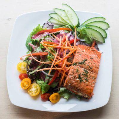 Cedar Plank Sockeye Salmon Salad at Thunderbird cafe in Whistler, BC!
