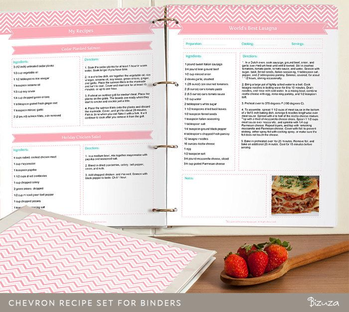 DIY Recipe Binder Printable And Customizable Recipe Template Editable PDF  Pink Chevron Instant Download (12.00
