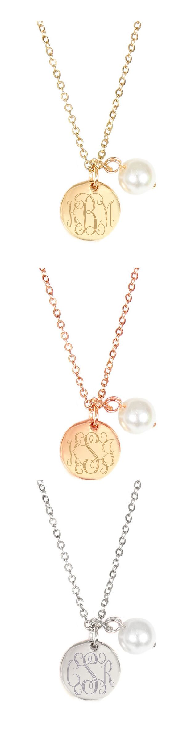 Monogrammed Simply Sweet Pearl Necklace  Available In Silver, Gold Or Rose  Gold Tones!
