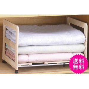 桐製 すのこ 伸縮式 押入れ 布団棚 1段 キャスター付き 通気が良い 湿気をためない桐すのこを底板に使用。