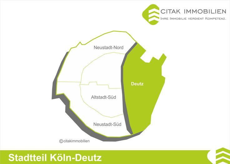 Stadtteil Köln-Deutz Deutz liegt rechtsrheinisch, direkt gegenüber der Kölner Innenstadt und grenzt im Norden an Mülheim, im Süden an Poll, im Westen an den Rhein und im Osten an die Stadtteile Kalk und Humboldt/Gremberg. Deutz verfügt über ausgezeichnete Verkehrsanbindungen in alle Richtungen, insbesondere die Innenstadt ist über die Deutzer Brücke und die Hohenzollernbrücke sehr schnell zu erreichen, was diesen Stadtteil zu einem interessanten Wohnort macht.