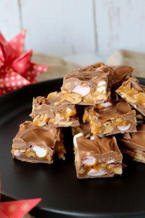 Chokoladehapsere med Peanuts, Karamel og Skumfiduser