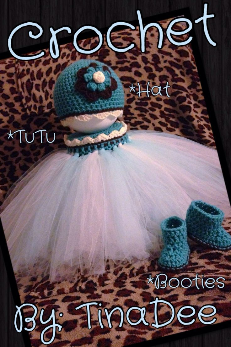Crochet By: TinaDee  A Tutu, Hat, booties set