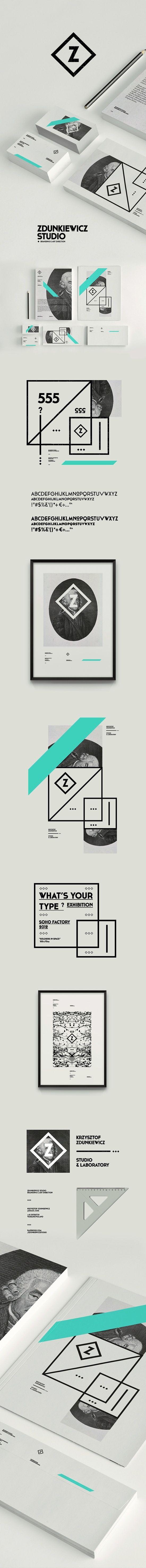 Zdunkiewicz Studio/ Lijnen,  manier van fotograferen is clean met stapel visitekaartjes en blaadjes etc