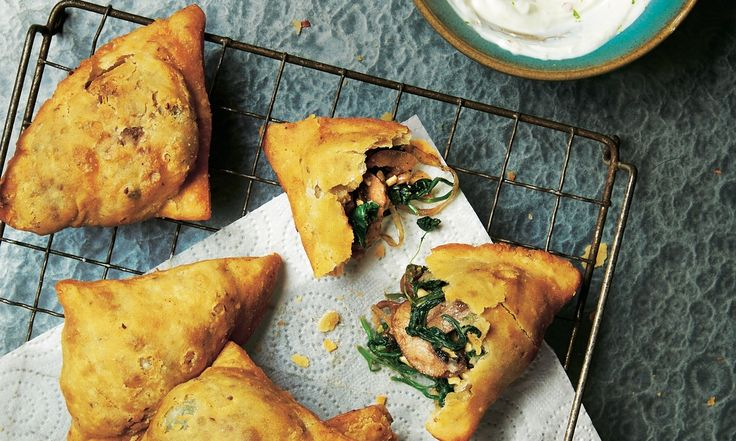 Mushroom, spinach and paneer samosas    Forget button mushrooms – these days we've got a heap of varieties to choose from