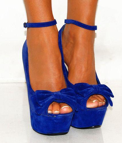 LADIES COBALT NAVY ROYAL BRIGHT BLUE SUEDE BOW PEEP TOE WEDGES HIGH HEELS SHOES | eBay