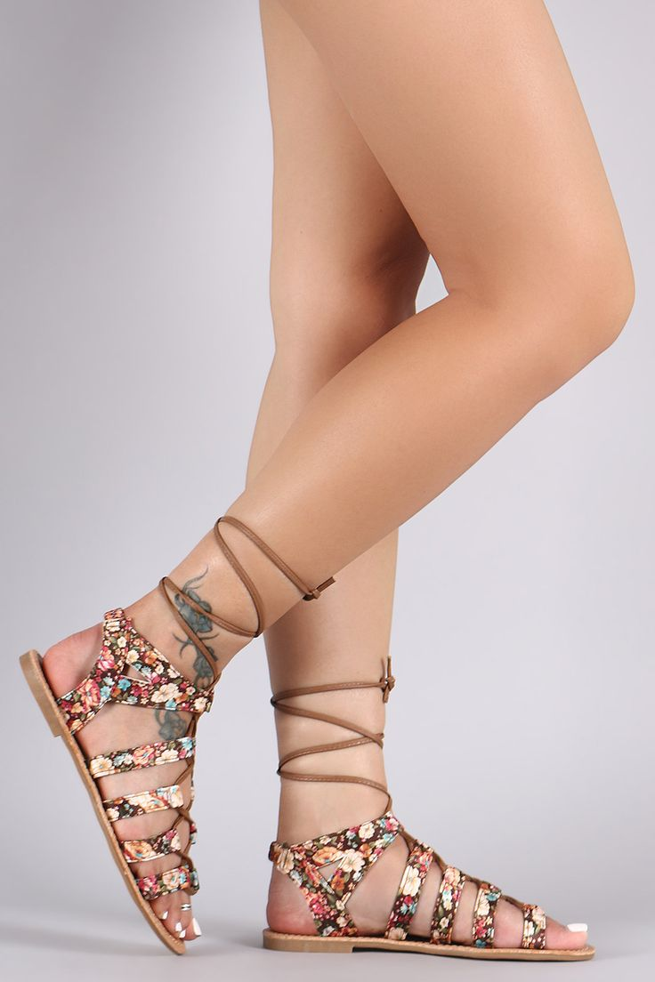 58ce89e404 Floral Print Strappy Lace Up Flat Sandal | legs | Flat sandals, Sandals, Lace  up