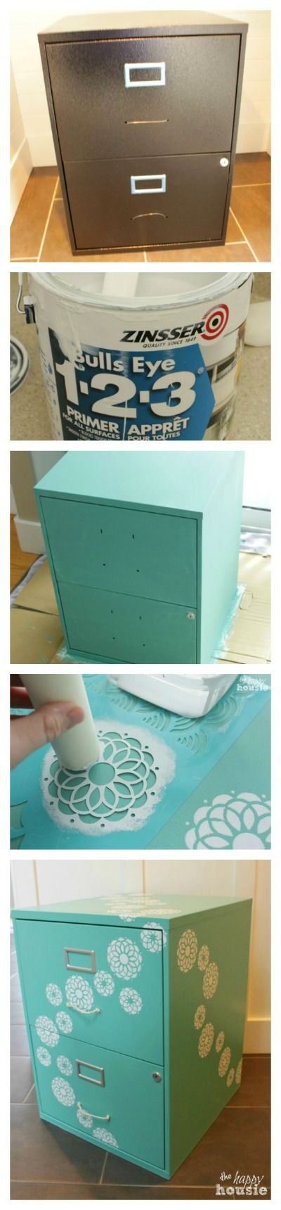 How to transform a boring and basic filing cabinet into something FUN and functional  - using Country Chic Bliss and Simpicity Chalk Paint - full tutorial at The Happy Housie