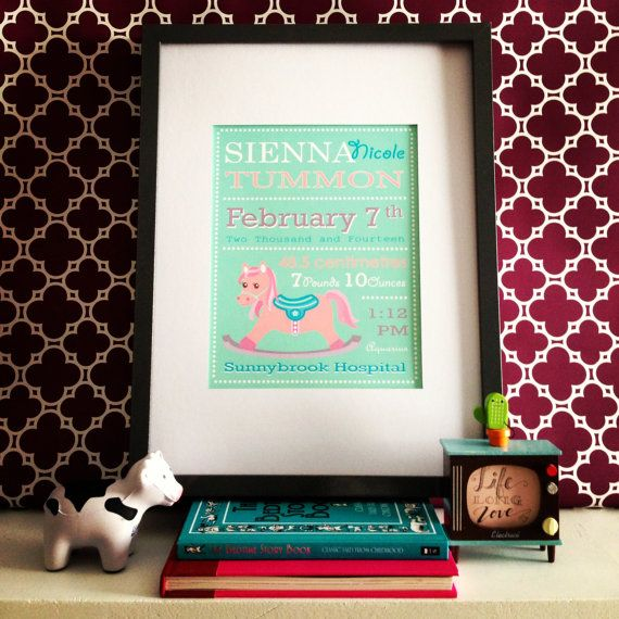 Birth Announcement Story  Rocking Horse by lifelonglove on Etsy