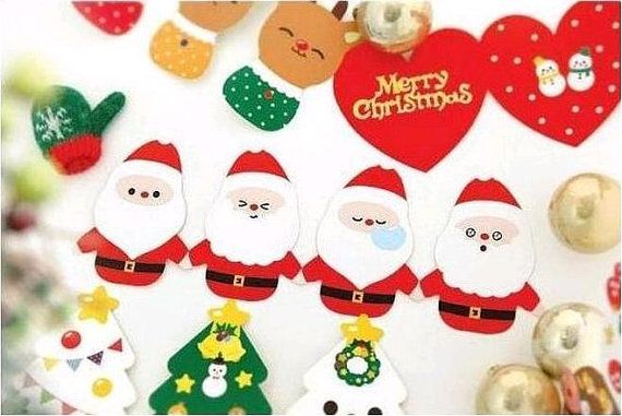 christmas party card tree Santa Claus Snowman by StickersKingdom
