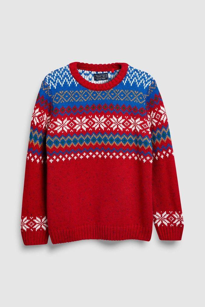 cb83ebe82a0 Boys Next Red Fairisle Pattern Knitted Crew (3-16yrs) - Red ...