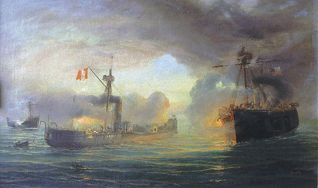 The Battle of Angamos, during the War of the Pacific
