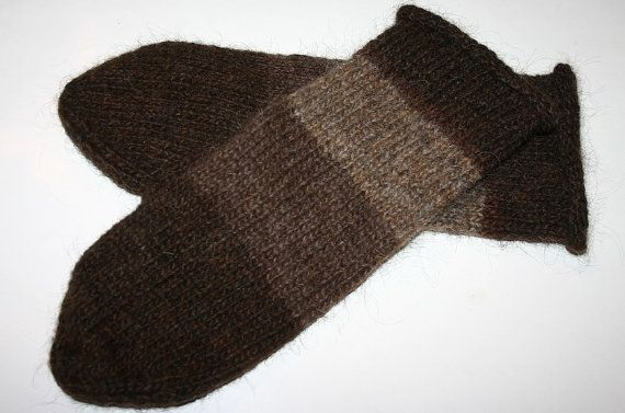 Unisex Icelandic Wool Mittens in Brown  Felted  Size  by Maggadora, $37.00
