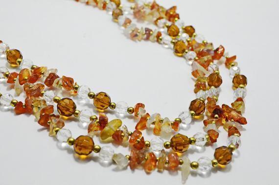 Collier de perles cornaline rouge cornaline Orange collier pierre naturelle bijoux en cristal…