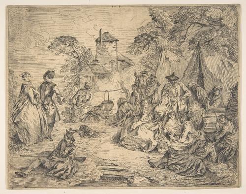 'Soldaten und Frauen in einem Lager' von Jean-Baptiste Pater (1695-1736, France)