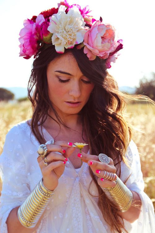everything.: Cuffs Bracelets, Pink Flower, Boho Chic, Flower Crowns, Flower Headbands, Head Band, Flower Children, Bohemian Style, Floral Crowns