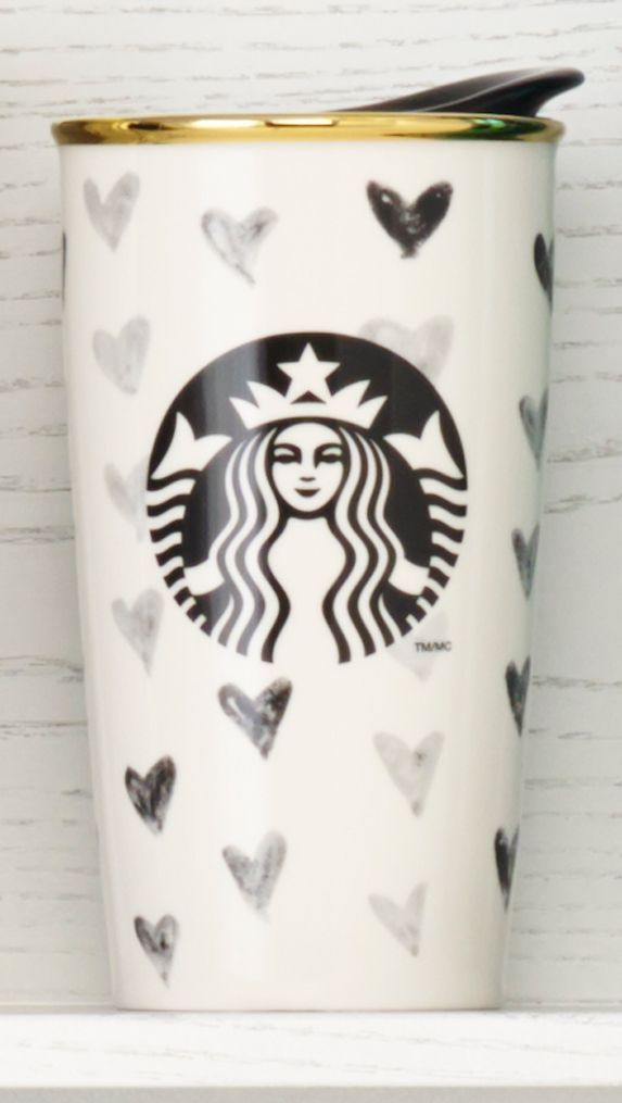 Double-walled ceramic mug with a black heart design and gold rim. #Starbucks #DotCollection