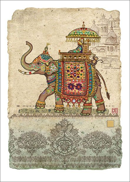 Elephant Collage. Design by Jane Crowther - Bug Art greeting cards