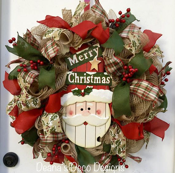 Santa Merry Christmas Deco Mesh Wreath Red Green Burlap