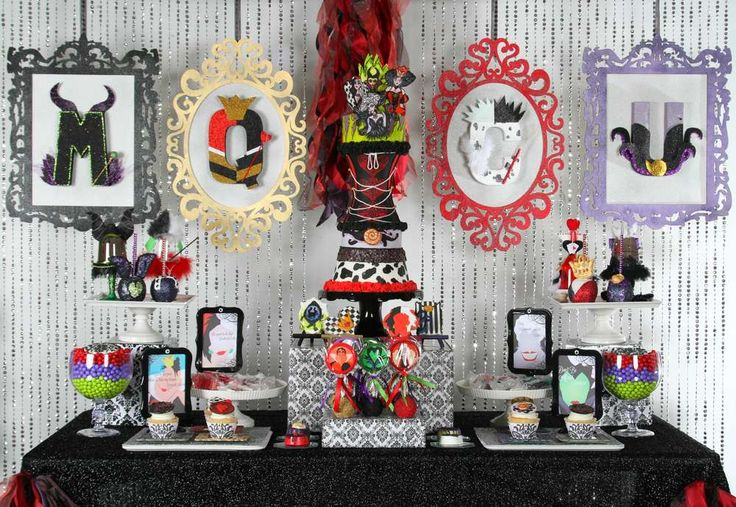 Fantastic dessert table and backdrop at a Halloween party!  See more party planning ideas at CatchMyParty.com!