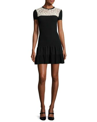 Short-Sleeve+Lace-Yoke+Fit-&-Flare+Dress,+Nero/Ecru+by+RED+Valentino+at+Neiman+Marcus.